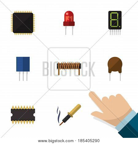 Flat Appliance Set Of Display, Receptacle, Cpu And Other Vector Objects. Also Includes Unit, Iron, Soldering Elements.