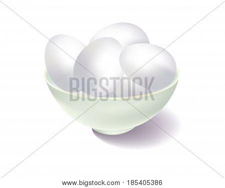 White bowl of white eggs on white background