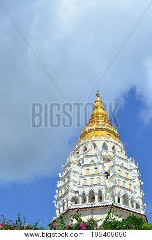 Chinese buddhist pagoda at Kek Lok Si temple at Penang Malaysia