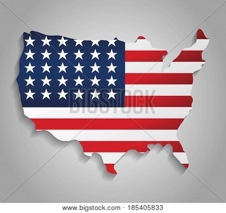 usa country map icon with usa flag colors over gray background. colorful design. vector illustration