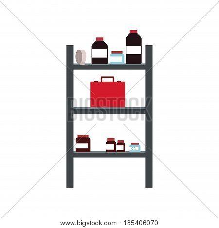 shelf bottles medicine kit first aid health care vector illustration