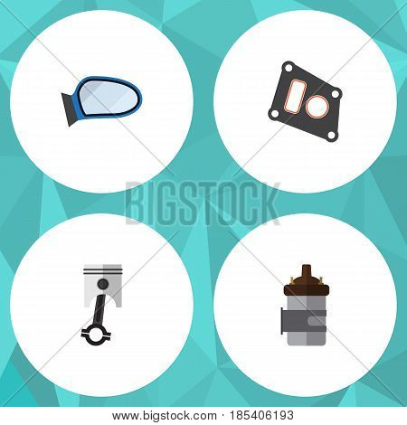 Flat Parts Set Of Absorber, Gasket, Conrod And Other Vector Objects. Also Includes Gasket, Combustion, Conrod Elements.