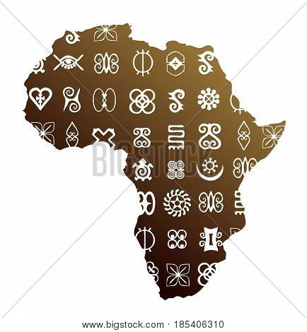 Africa map with set of ethnic symbols on surface