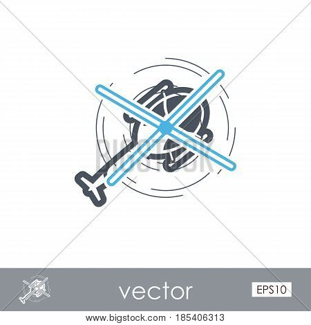 Helicopter outline vector icon. Travel. Summer. Summertime. Holiday. Vacation eps 10