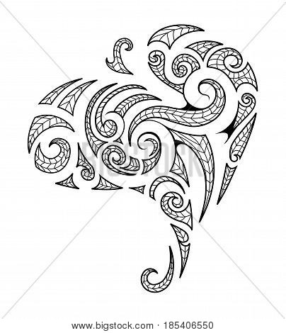 Tribal art tattoo in Maori style isolated on white