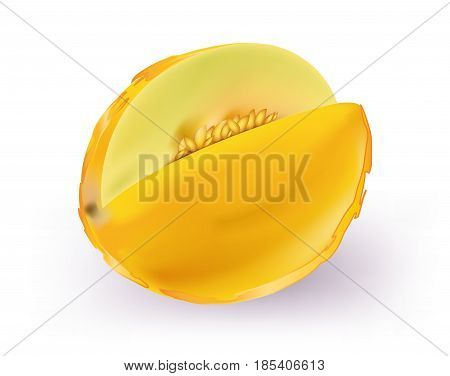 Yellow tasy Honeydew Melon on white background