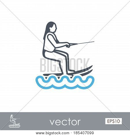 Water skiing outline vector icon. Beach. Summer. Summertime. Holiday. Vacation ride water sport eps 10