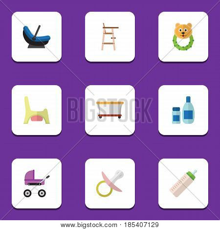 Flat Child Set Of Playground, Pram, Cream With Lotion And Other Vector Objects. Also Includes Bottle, Chair, Pacifier Elements.