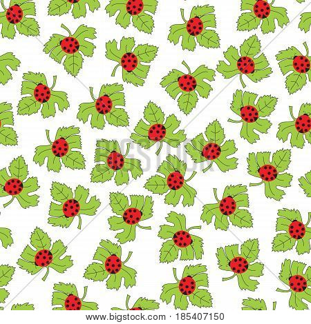 Vector seamless pattern. Ladybugs on a green leaf. Spring lovely print