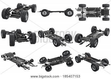 Chassis frame car with wheel set. 3D rendering