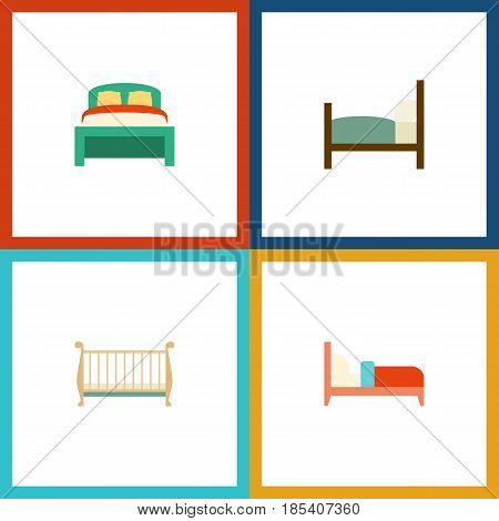 Flat Bedroom Set Of Furniture, Cot, Bed And Other Vector Objects. Also Includes Cot, Mattress, Bed Elements.