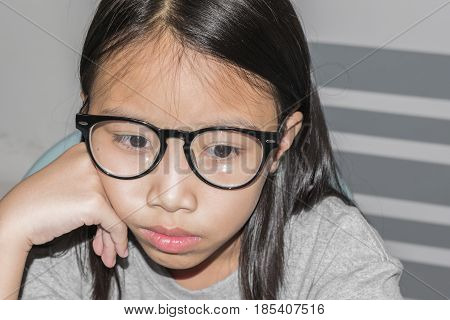 Beautiful Little Child Wearing Glasses Using Laptop To Learning And Education On Internet. Concept E
