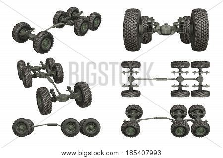 Truck military chassis frame with wheels set. 3D rendering
