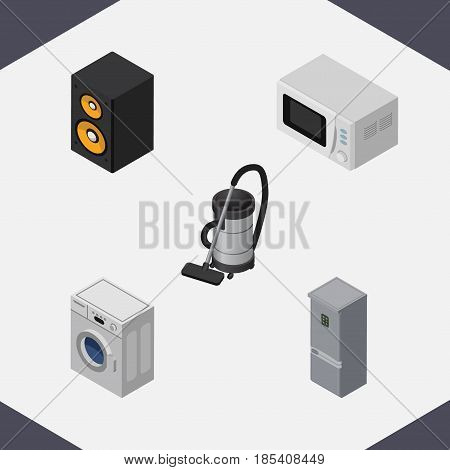 Isometric Appliance Set Of Kitchen Fridge, Music Box, Microwave And Other Vector Objects. Also Includes Microwave, Fridge, Vac Elements.
