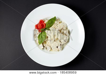 Fettuccine With Chicken And Mushrooms. Italian Style. Italian Food. Italian Cuisine.