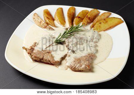 Beef In Cognac Sauce. Italian Style. Italian Food. Italian Cuisine.
