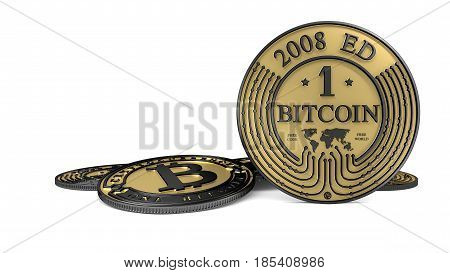 Futuristic Bitcoin made of gold and platinum. Path included