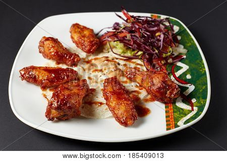 Chicken Wings In Mexican Style. Mexican Food. Mexican Cuisine.