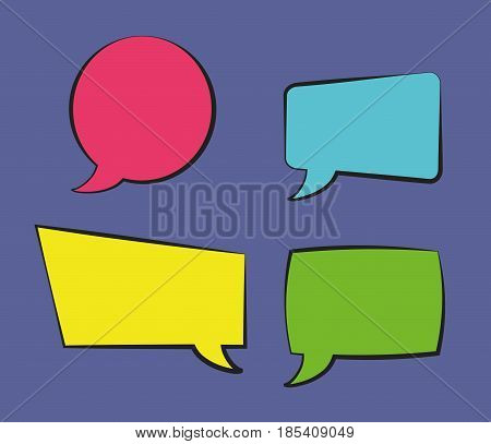 colorful speech bubbles icon over purple background. vector illustration