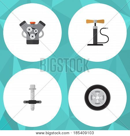 Flat Auto Set Of Motor, Tire, Wheel Pump And Other Vector Objects. Also Includes Motor, Silent, Car Elements.