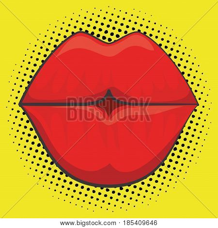 sensual red lips icon over yellow background. colorful design. vector illustration