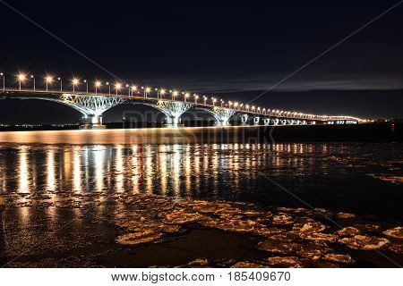 Bridge from Saratov In Engels, across the Volga river