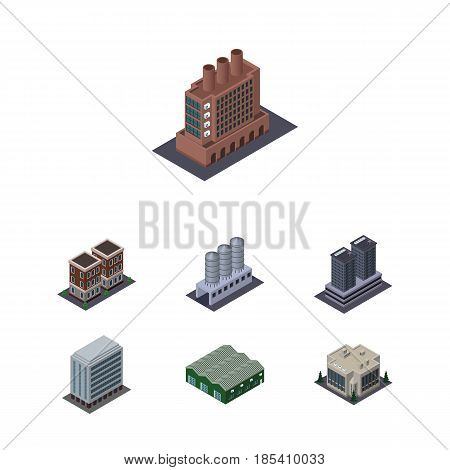 Isometric Construction Set Of Tower, House, Office And Other Vector Objects. Also Includes Depot, Skyscraper, Tower Elements.