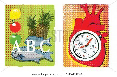 A set of two illustrations about cardio. Food for the nutrition of the heart muscle: pineapple fish lemon apple tomato An anatomical image of the heart with a stylized stopwatch inside. On an ornamental background