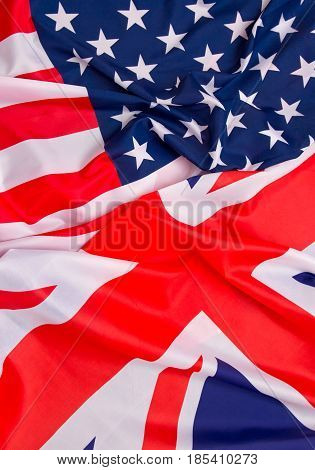 USA flag and Great Britain Flag background.