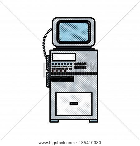 drawing monitoring cardiology technology equipment vector illustration