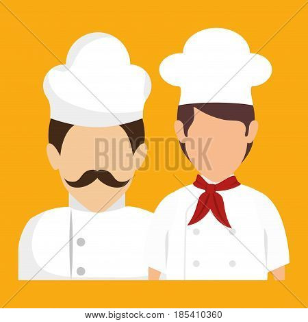Chef and sous chef avatars over yellow background. Vector illustration.