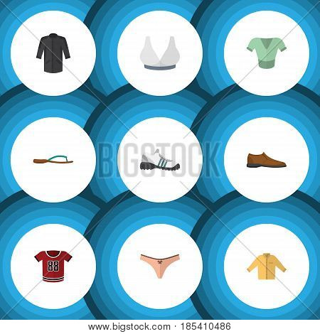 Flat Dress Set Of Banyan, Beach Sandal, Uniform Vector Objects. Also Includes Flip, Shoes, Sandal Elements.