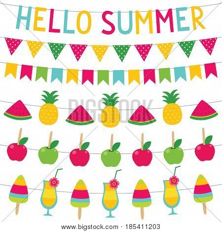 Summer party decoration (fruits and sweets banners)