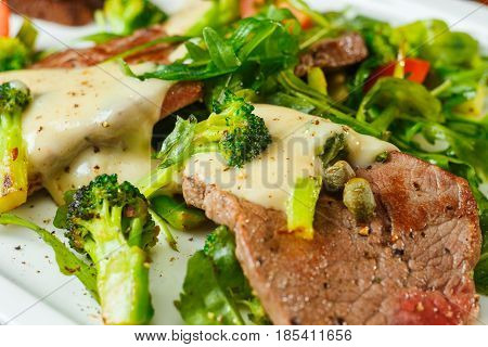 Slices Of Roast Beef With Cream Sauce