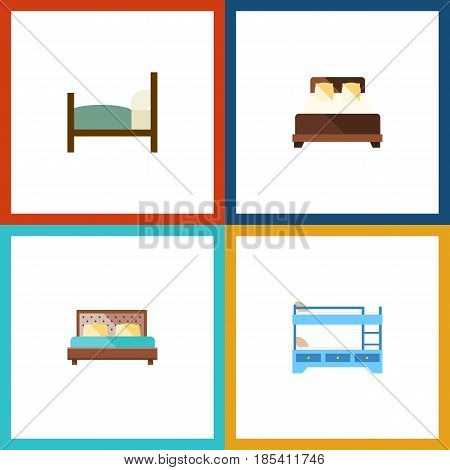 Flat Bedroom Set Of Mattress, Hostel, Bed And Other Vector Objects. Also Includes Bed, Mattress, Bedroom Elements.