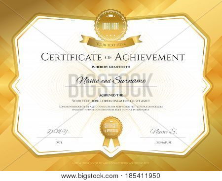 Certificate of achievement template with elegant gold border on abstact guilloche background
