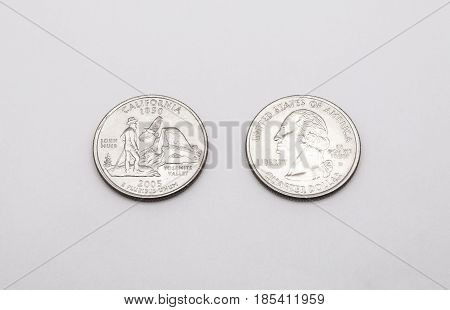 Closeup To California State Symbol On Quarter Dollar Coin On White Background
