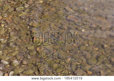 Water moving over pebbles and stones at the shore