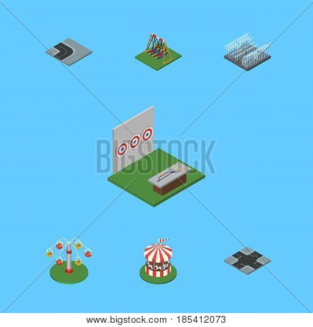 Isometric Urban Set Of Turning Road, Carousel, Seesaw And Other Vector Objects. Also Includes Park, Seesaw, Water Elements.