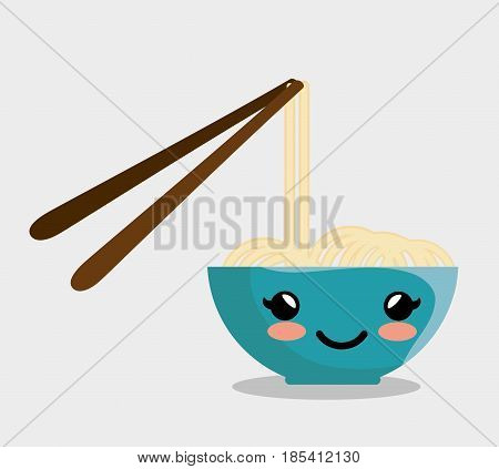 Kawaii bowl with noodles and chopsticks over white background. Vector illustration.