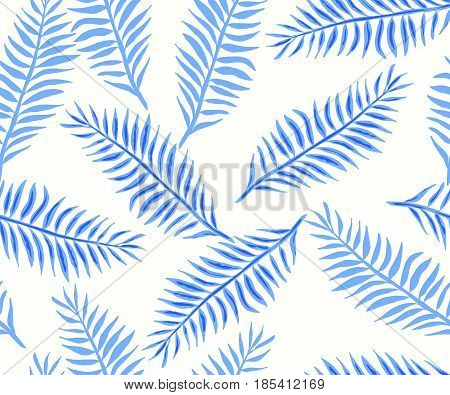 Seamless pattern with blue tropical leaves. Vector hand drawn illustration.