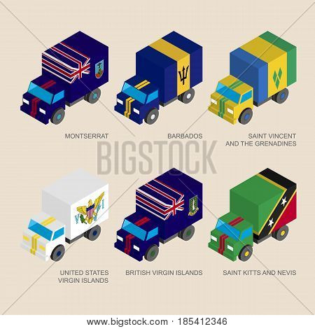 Isometric 3d cargo trucks with flags of countries in Oceania. Cars with standards - Montserrat, Barbados, Virgin Islands, Saint Kitts and Nevis, Saint Vincent and Grenadines. Design elements.