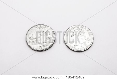 Closeup To Florida State Symbol On Quarter Dollar Coin On White Background