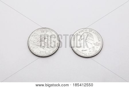 Closeup To Mississippi State Symbol On Quarter Dollar Coin On White Background