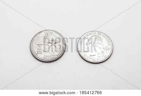 Closeup To Texas State Symbol On Quarter Dollar Coin On White Background