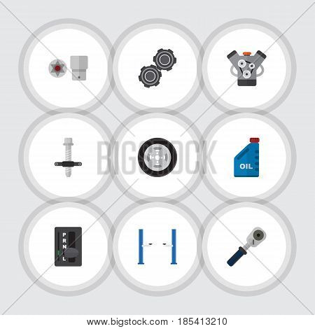 Flat Auto Set Of Ratchet, Belt, Motor And Other Vector Objects. Also Includes Jerrycan, Wheel, Ratchet Elements.