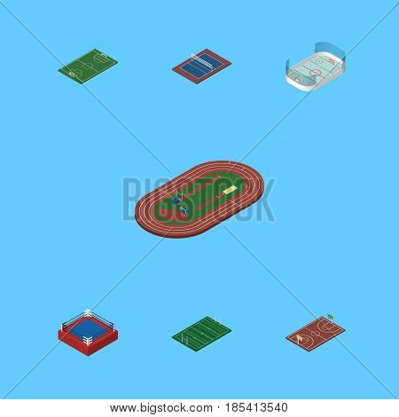 Isometric Lifestyle Set Of B-Ball, American Football, Ice Games And Other Vector Objects. Also Includes Football, Field, American Elements.
