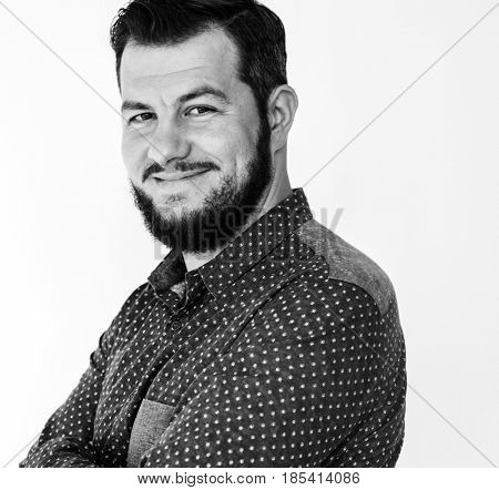Adult Man Smile Happiness Face Expression Studio Portrait