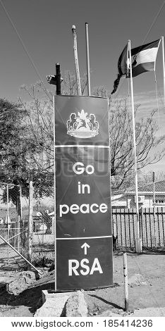 In Lesotho   Control Border Signal Welcome Concept