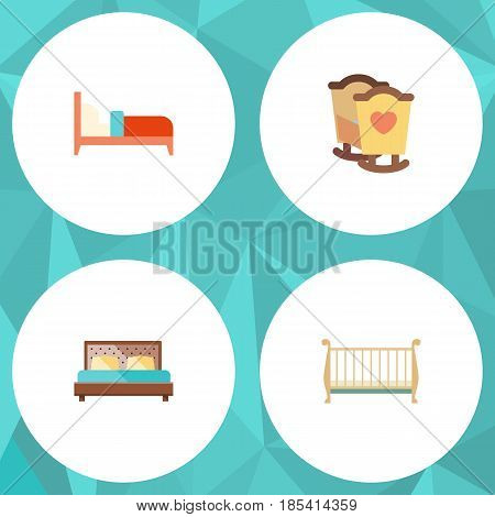 Flat Bed Set Of Bearings, Hostel, Crib And Other Vector Objects. Also Includes Cot, Mattress, Crib Elements.